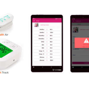Pulse oximeter, tensiometer and application ESTOYBIEN on tablet